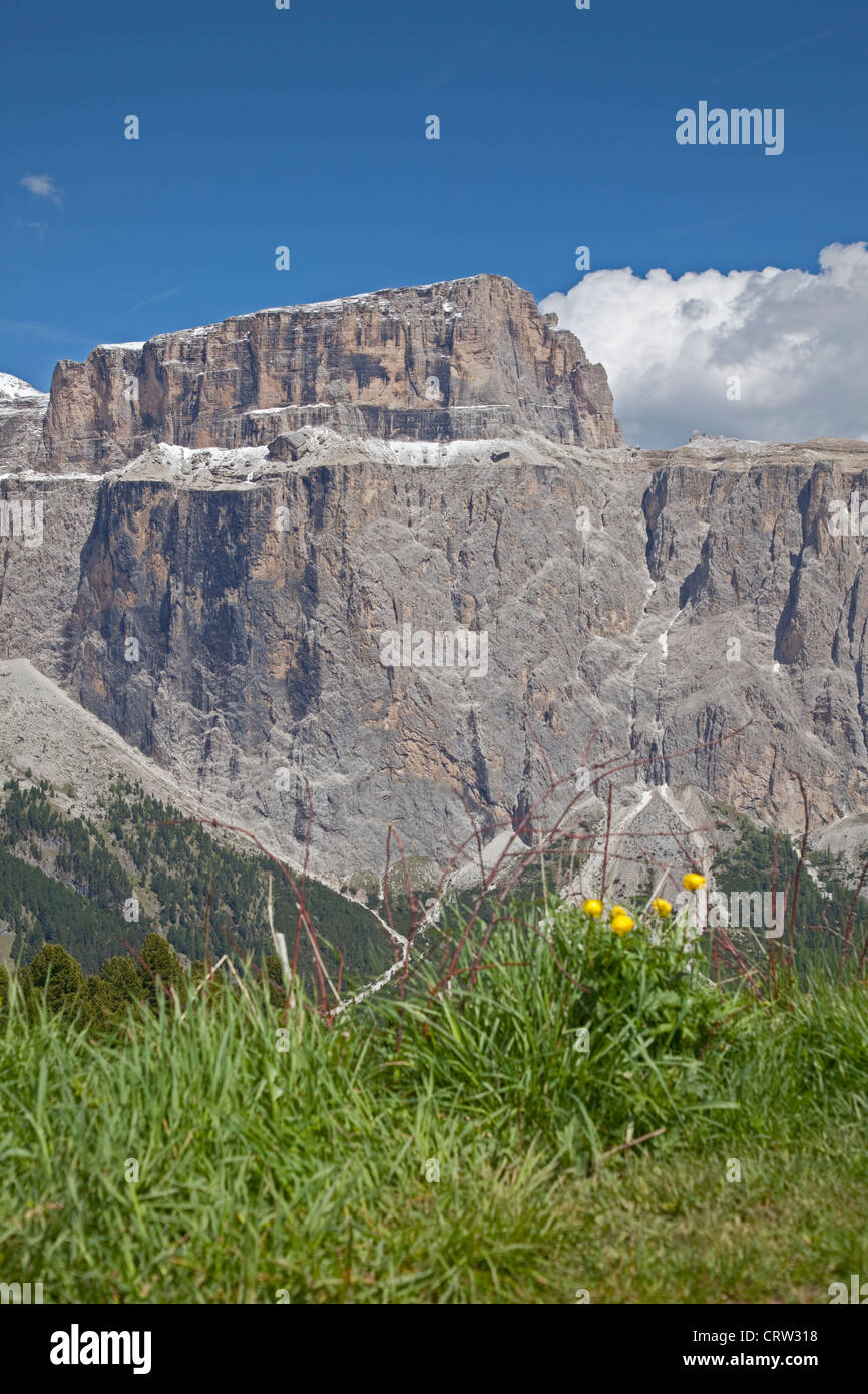 Sella Massif from the Sella Pass, Dolomites, Italy - Stock Image