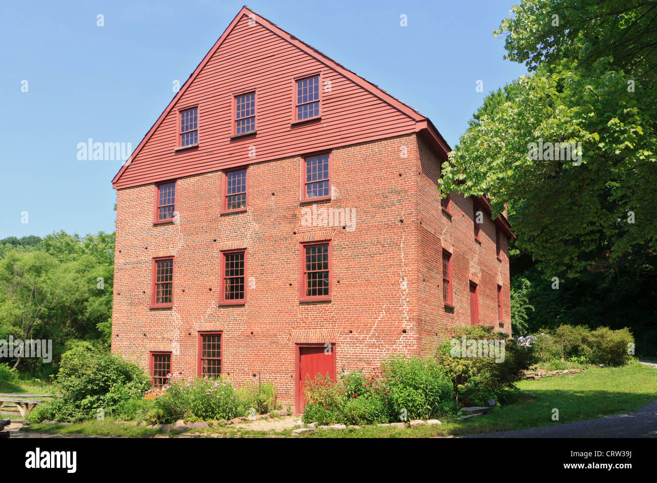 Colvin Run Mill Historic Site, a water-powered gristmill, built about 1805, Great Falls, Virginia, Fairfax County Stock Photo