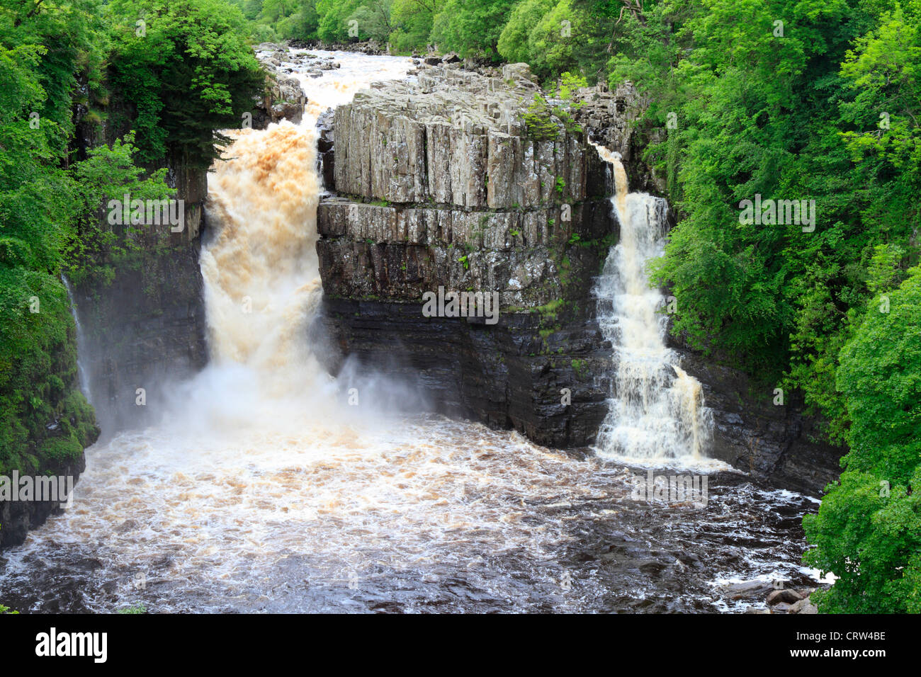 High Force waterfall after heavy rain, River Tees near Middleton in Teesdale, County Durham, England, UK. - Stock Image