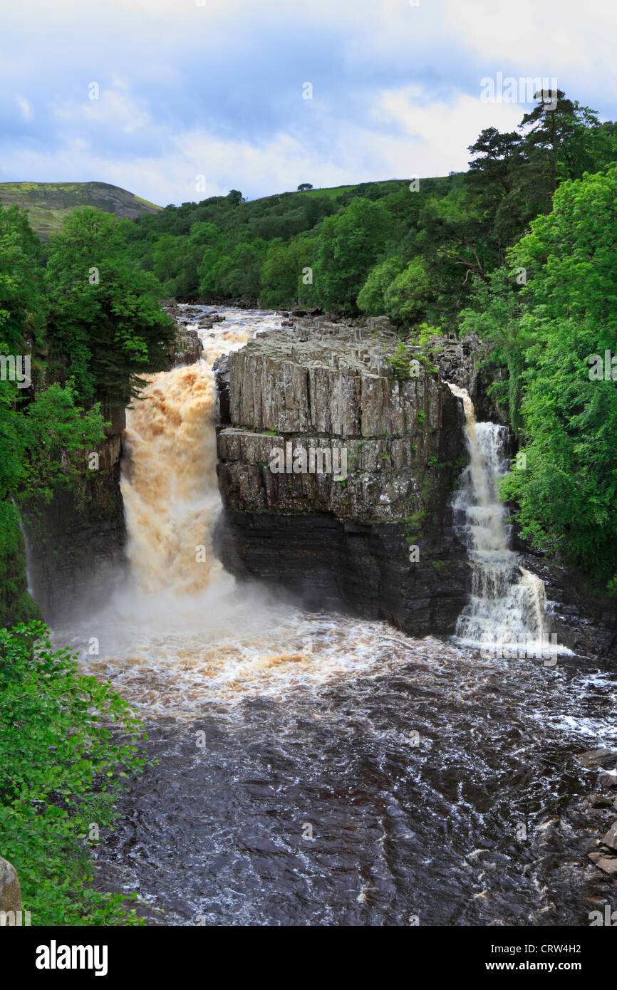 High Force waterfall after heavy rain, River Tees near Middleton in Teesdale, County Durham, England, UK. Stock Photo
