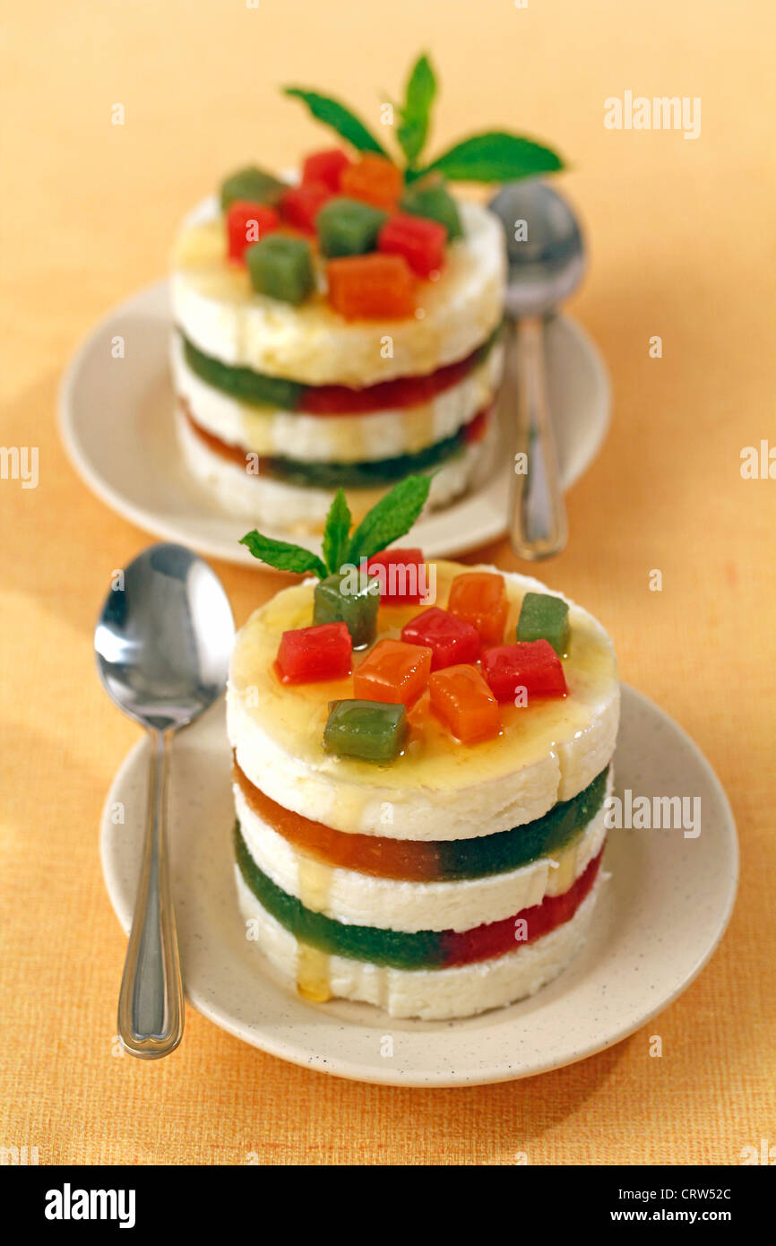 Fresh cheese with jelly fruit. Recipe available - Stock Image