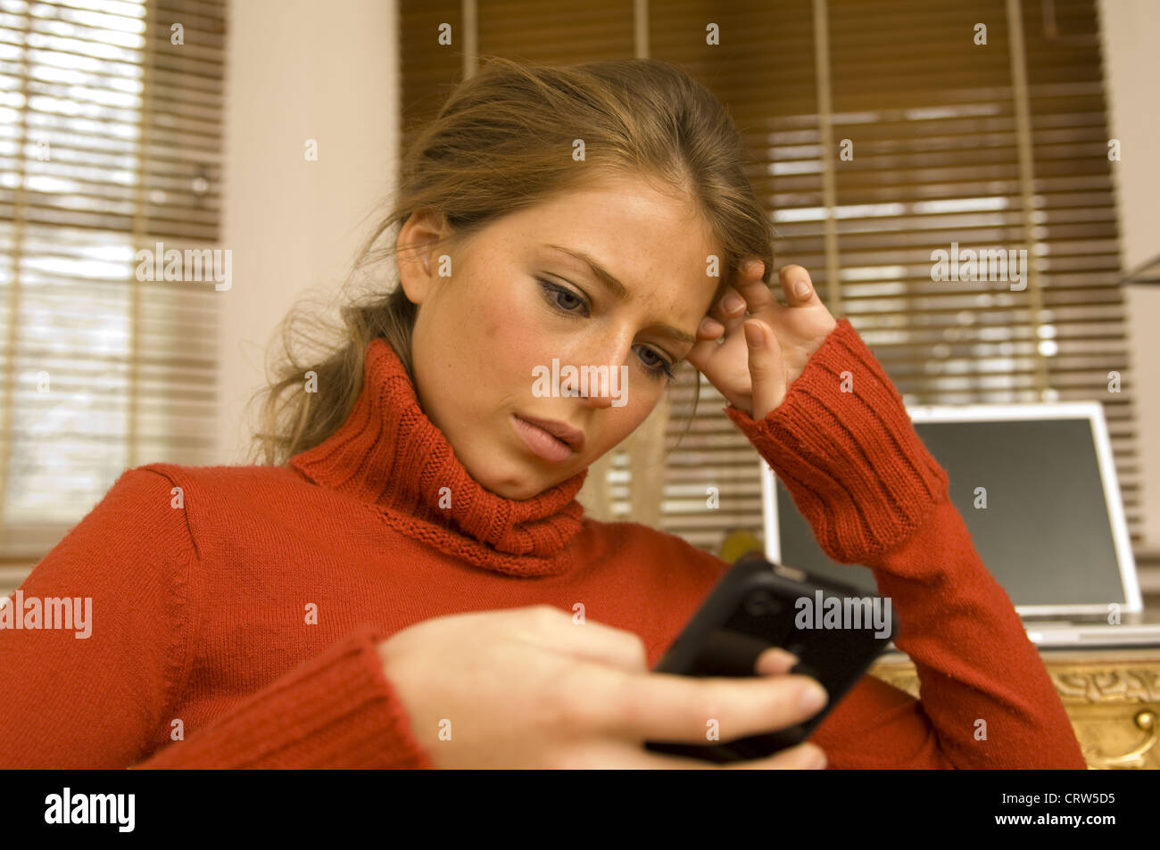 woman with cellular phone Stock Photo