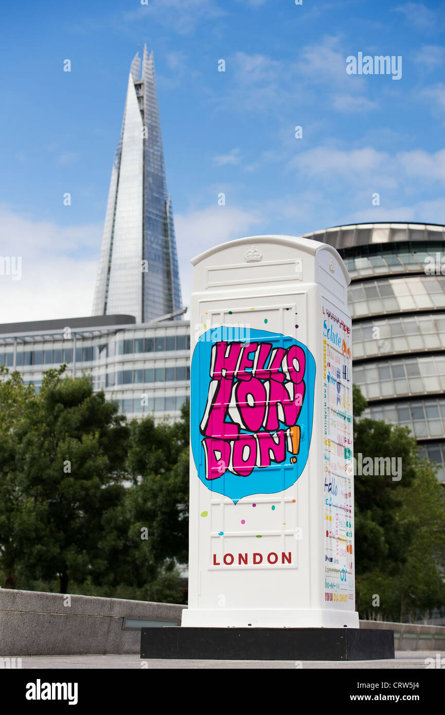 BT Artbox 'Welcome to London' , with The Shard in the background. More London Riverside. England - Stock Image