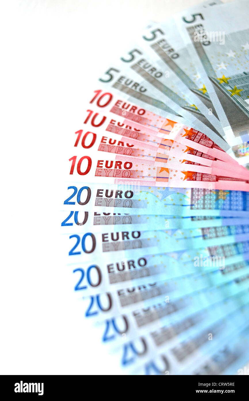 Selection of Euro currency notes in 5s 10s and 20s denomination - Stock Image