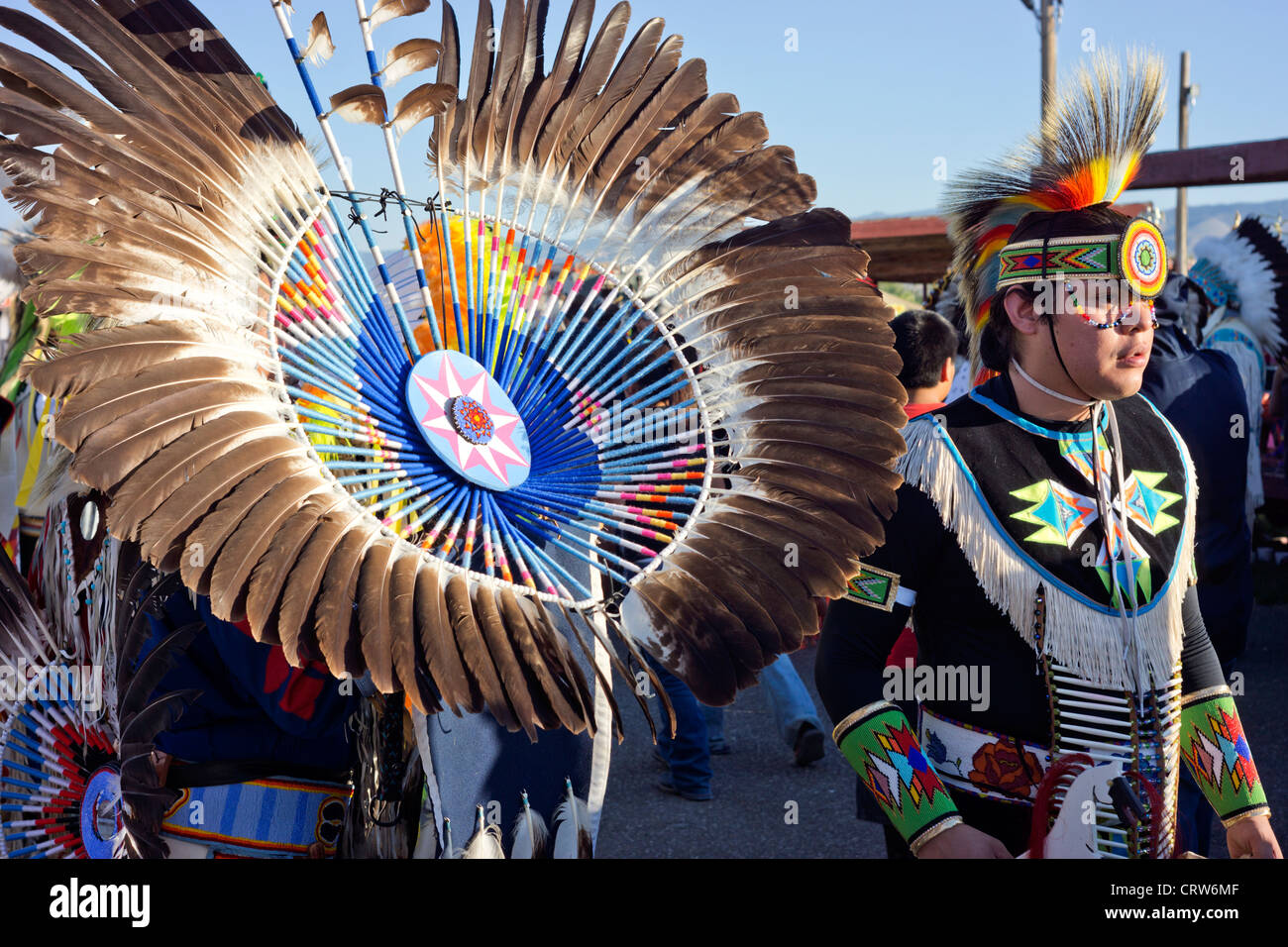 Fort Washakie, Wyoming -  Dancers in full regalia at the Indian Days, an annual event held on the Wind River Reservation. - Stock Image