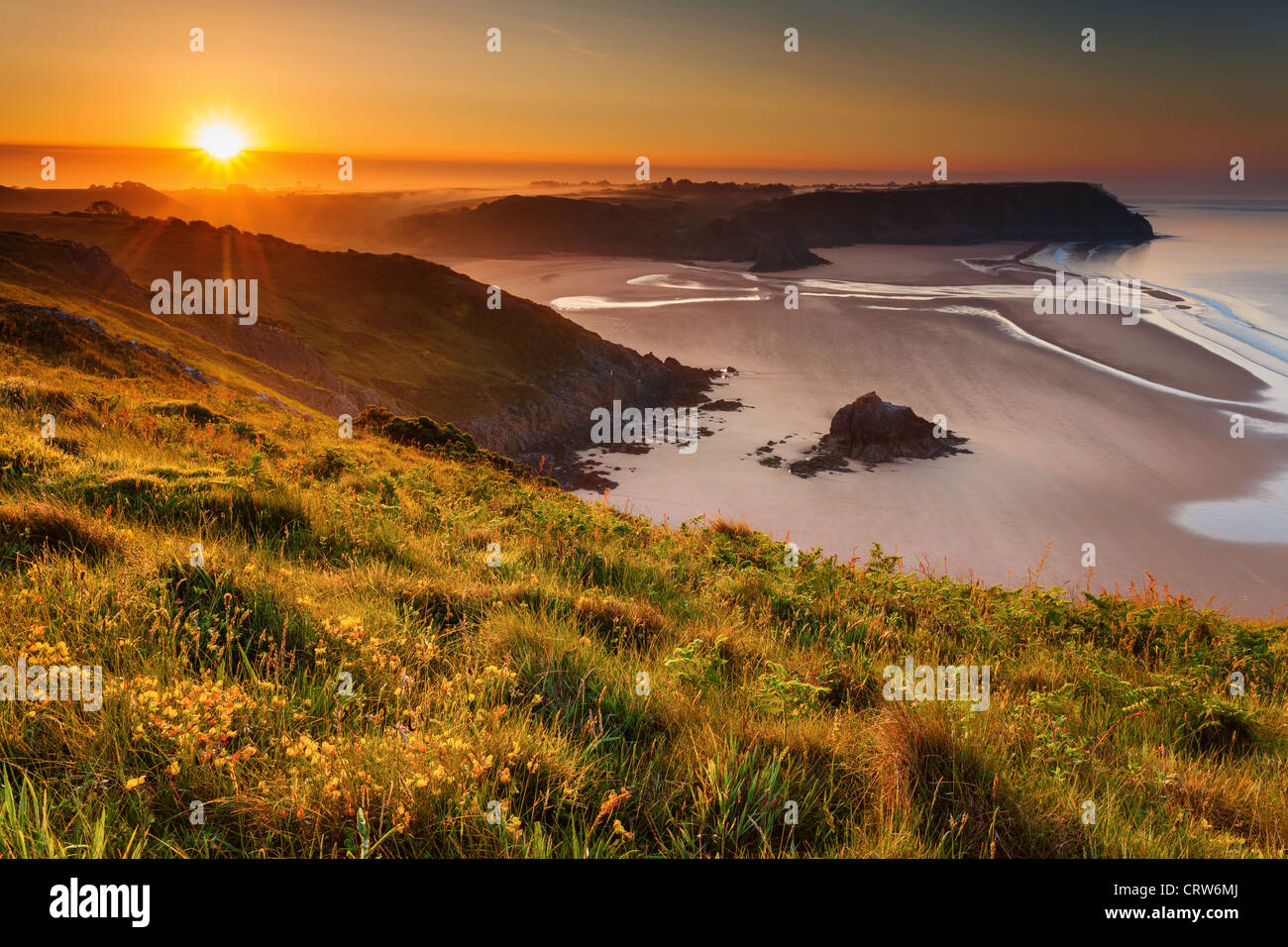 Three Cliffs Bay from Penmaen Burrows, Gower, Wales Stock Photo