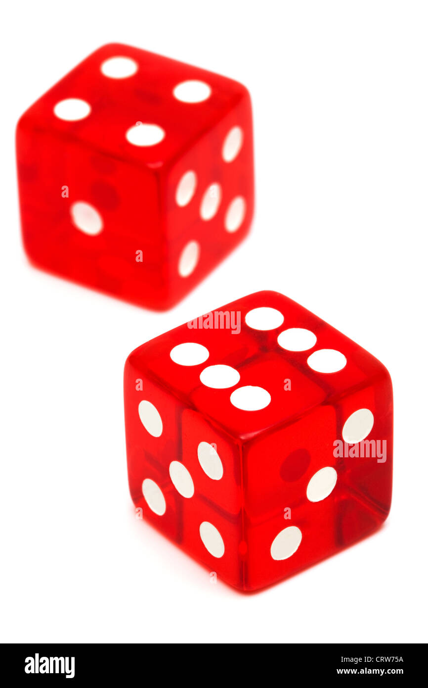 red and transparent dice - Stock Image