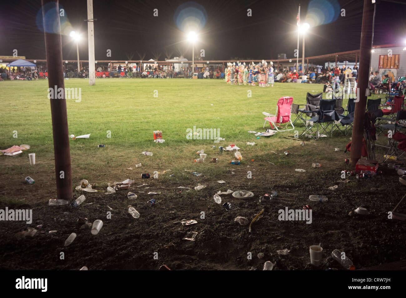 Trash left on the field after a powwow held at Fort Washakie, Wyoming - Stock Image