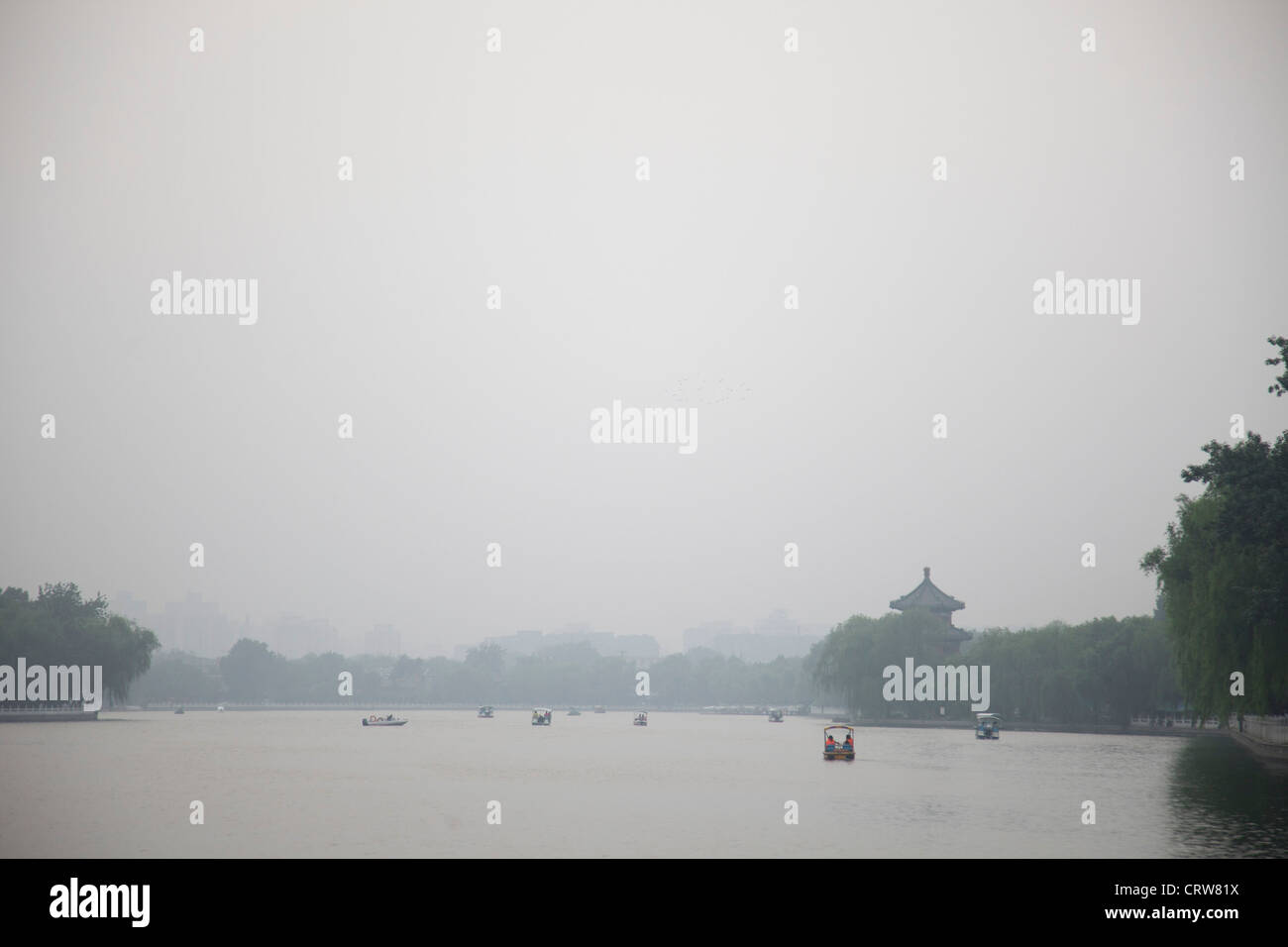 Shichahai lake at sunset, Beijing, China. - Stock Image