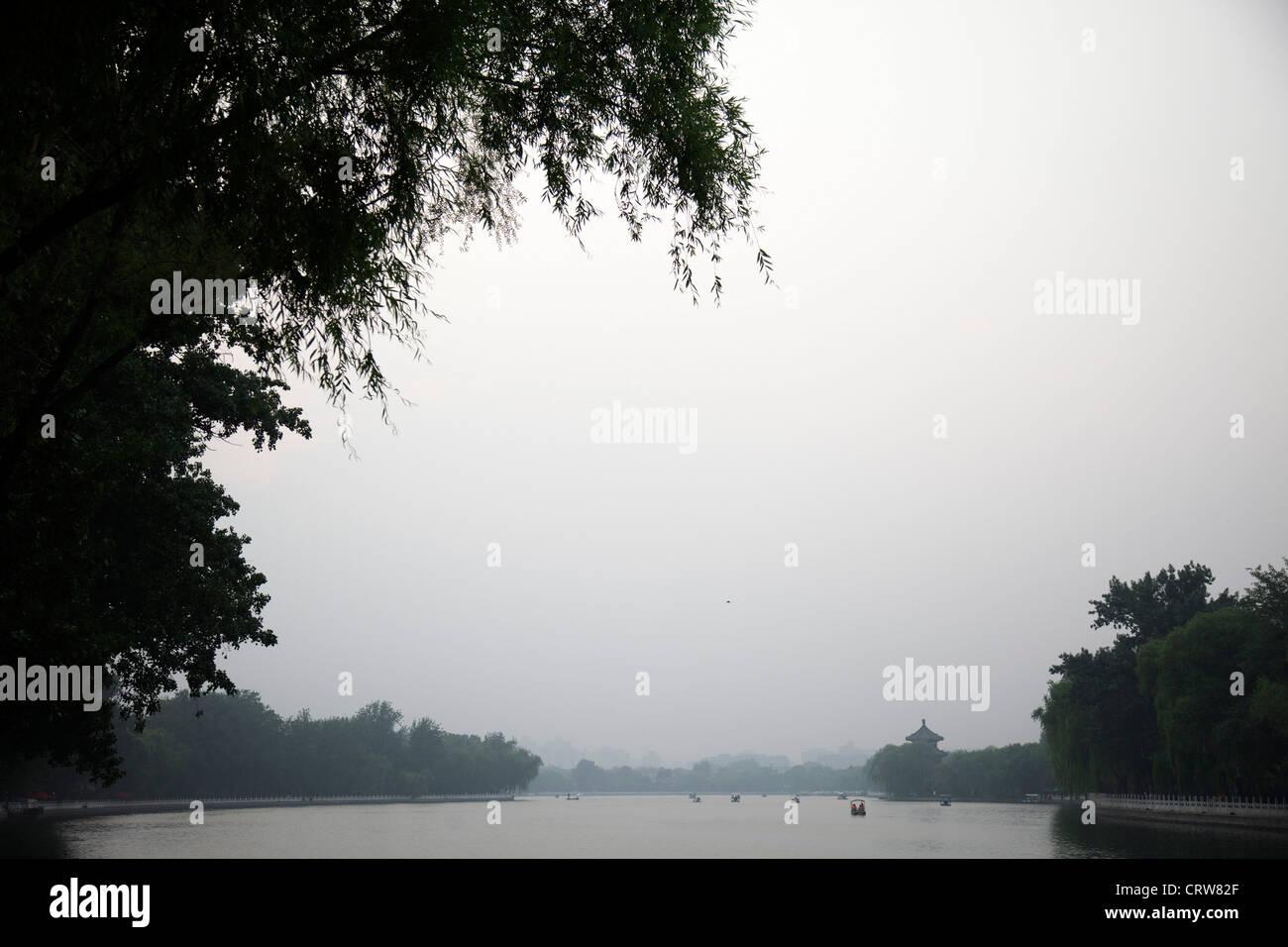 Shichahai lake at sunset, Beijing, China. Stock Photo