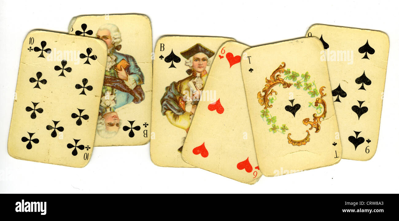 Old playing cards - Stock Image