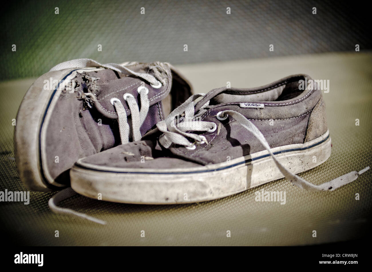 Worn Pair of Vans Trainers - Stock Image