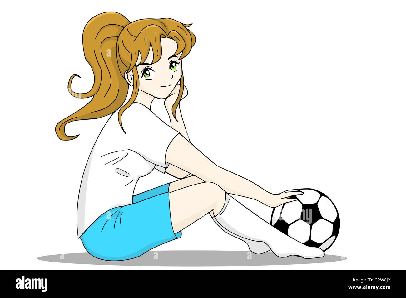 Girl with football - Stock Image
