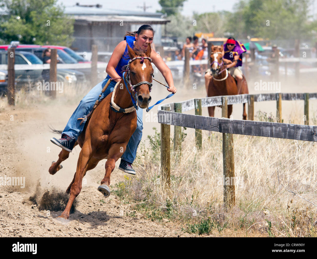 Female Indian Riders During A Horse Race Held At Fort Washakie Stock Photo Alamy