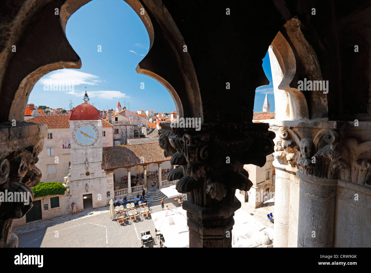 A view to clock tower in Trogir town Stock Photo