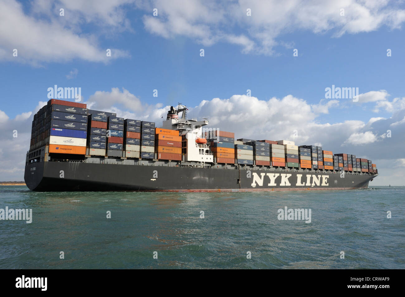 NYK Line Container ship on the Solent near Southampton UK Stock