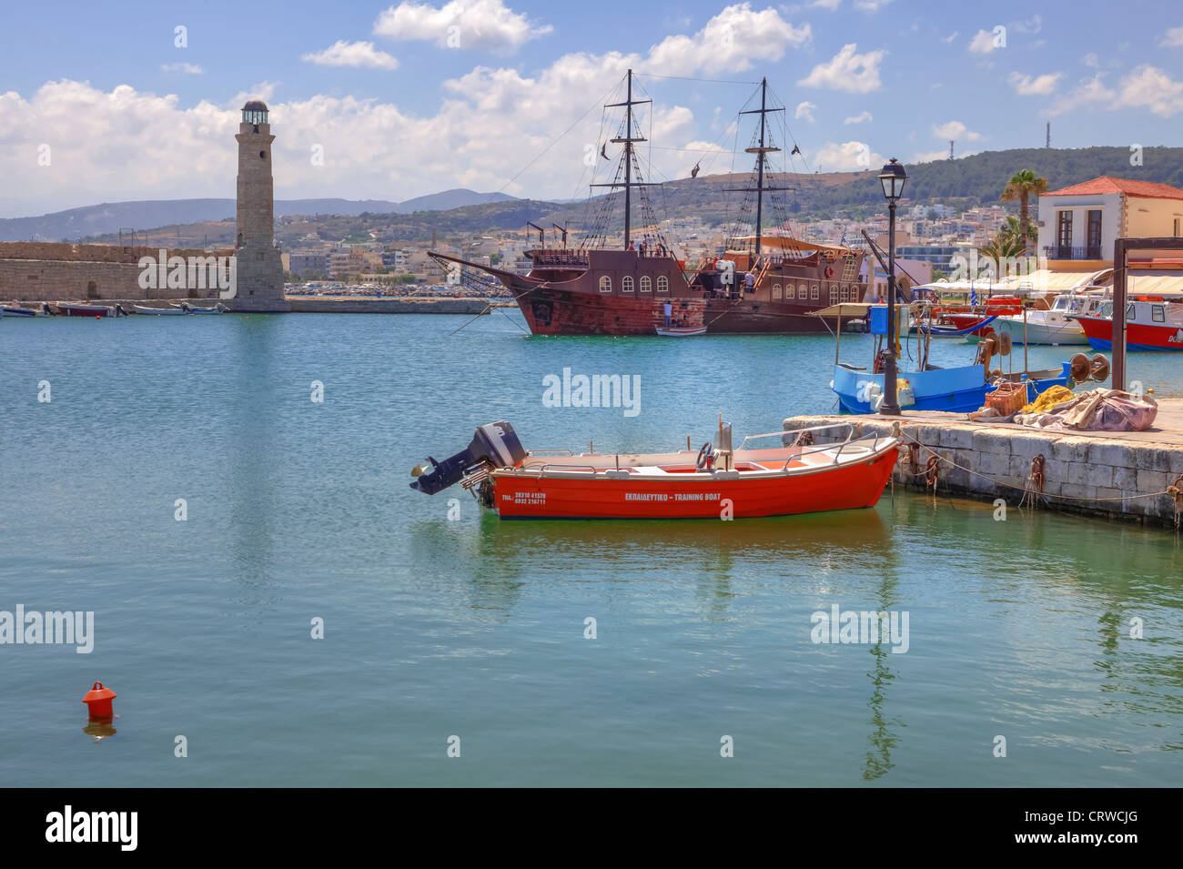 Venetian Port, Rethymno, Crete, Greece - Stock Image