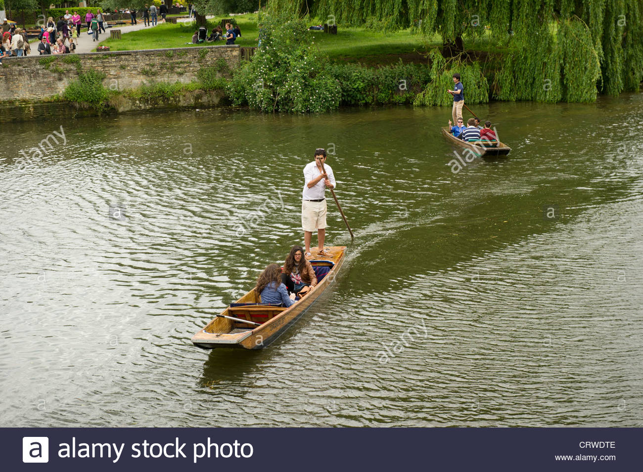 Punts on the river at Cambridge. - Stock Image