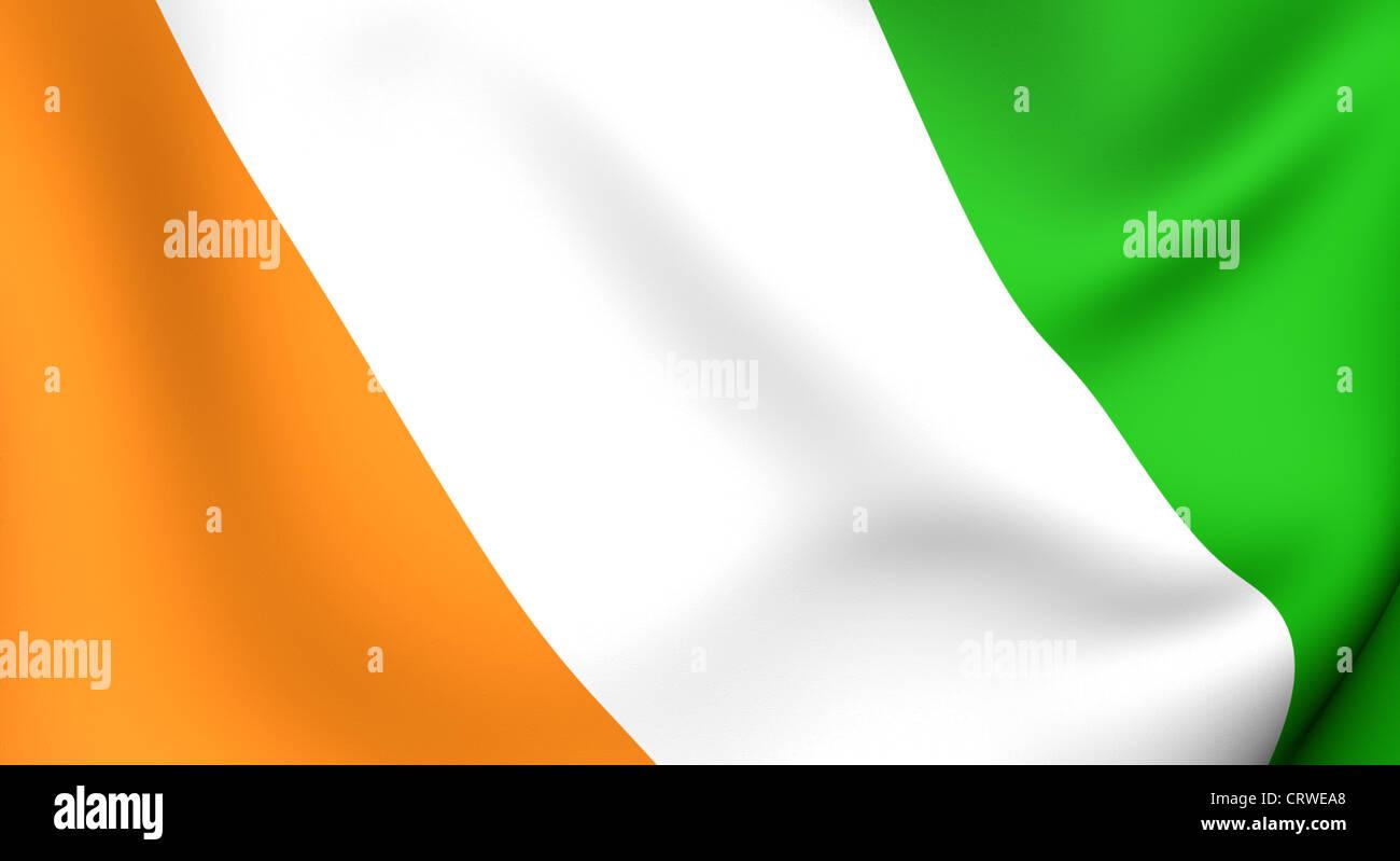 Flag of Cote d'Ivoire. Close up. 3d - Stock Image