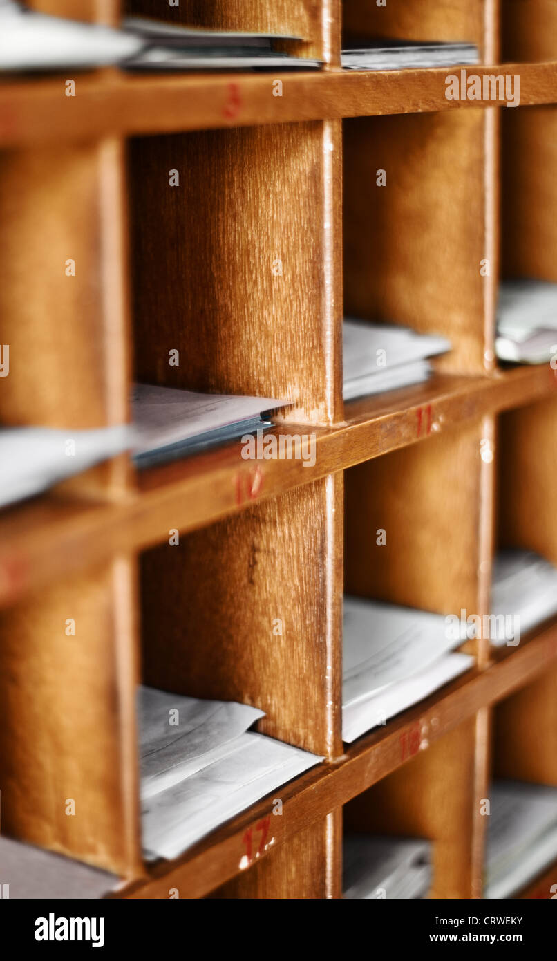Wood cells with documents - artifacts for buddhist divination - Stock Image