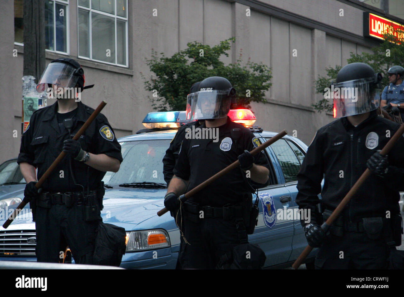 Seattle riot cops at demonstration. - Stock Image