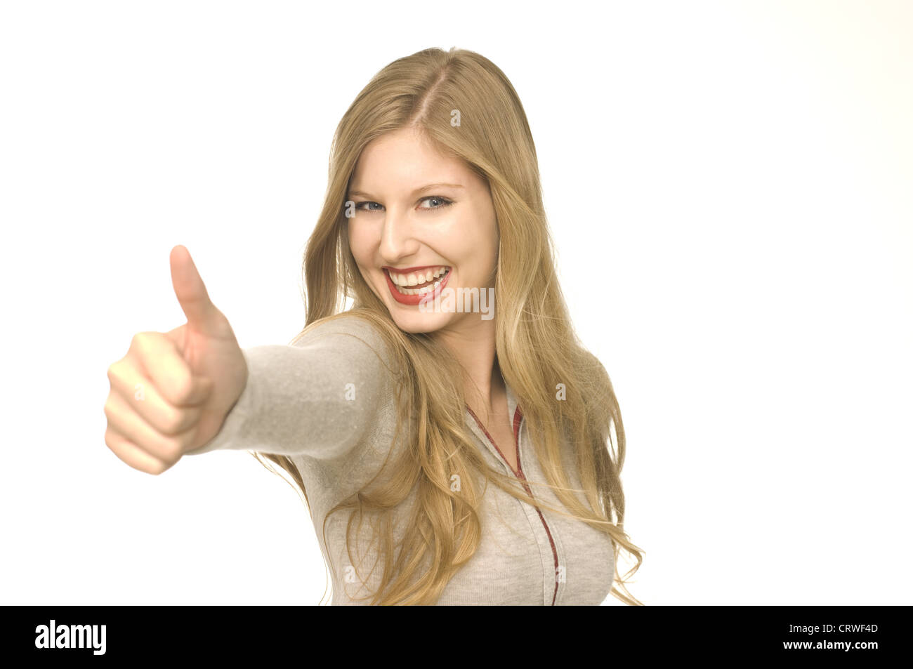 woman communicates by gesture - Stock Image