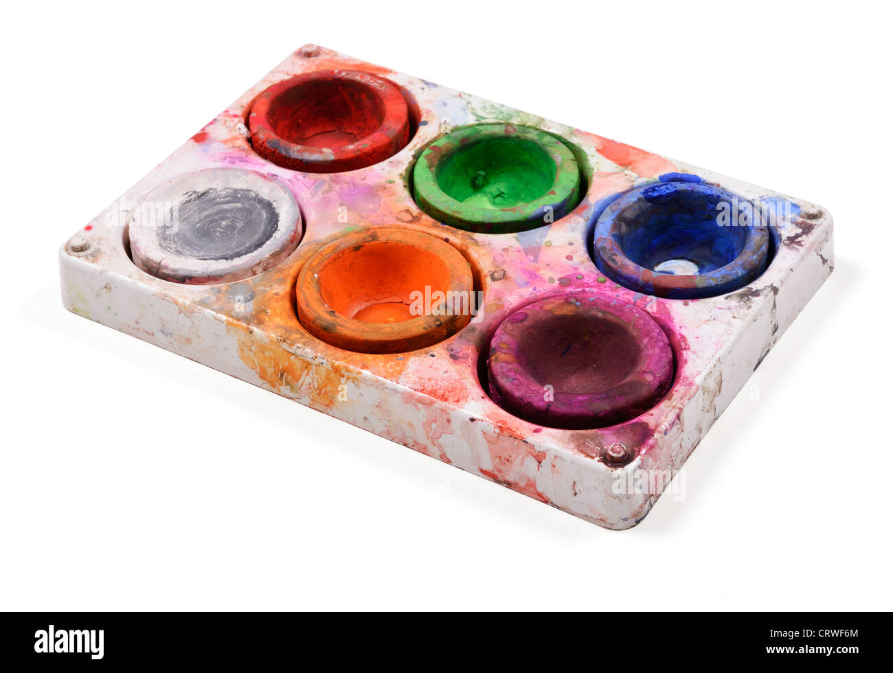 Paint palette with six colours - Stock Image