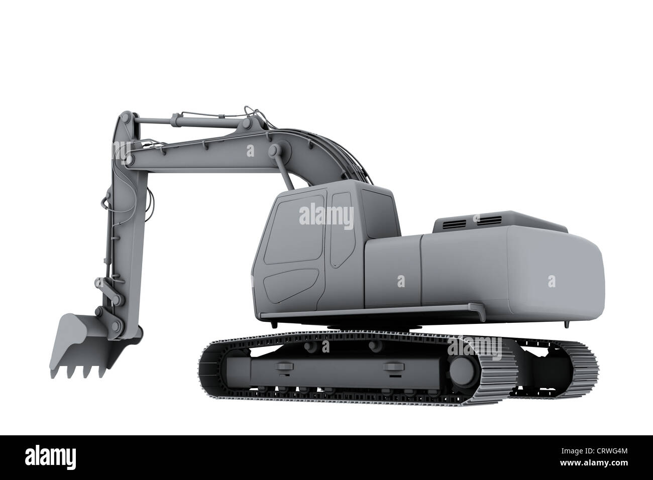 White model of the digger - Stock Image