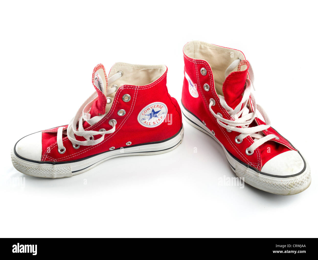 Red Converse Chuck Taylor All Star shoe pair - Stock Image