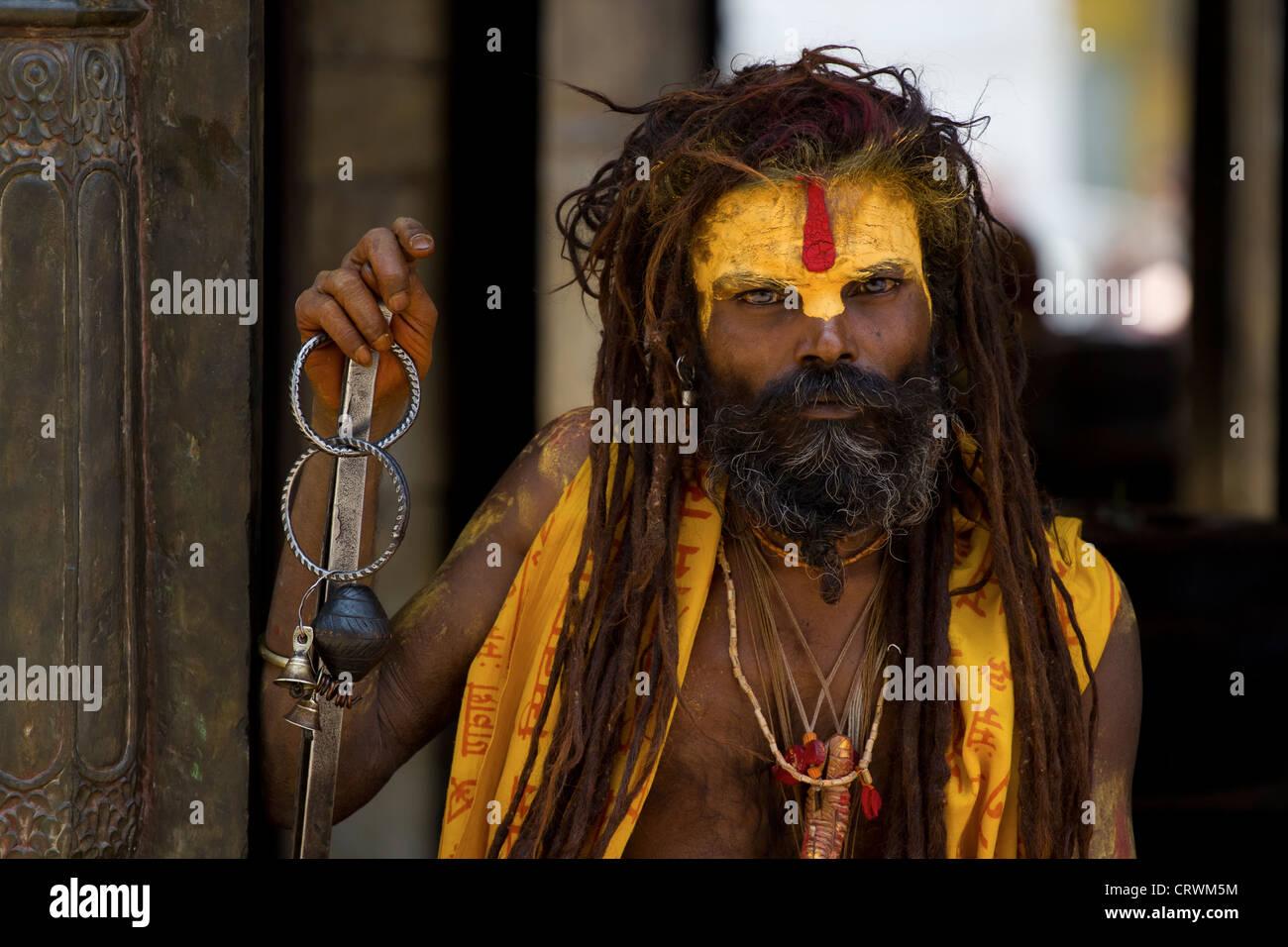 Sadhu in Nepal - Stock Image