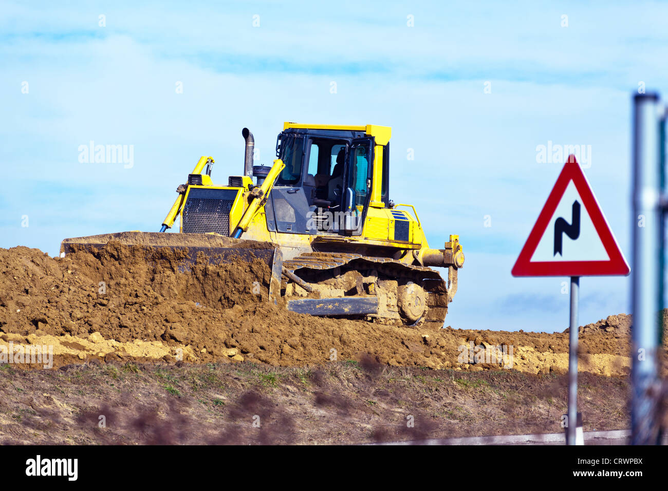 Excavator at construction work on site - Stock Image