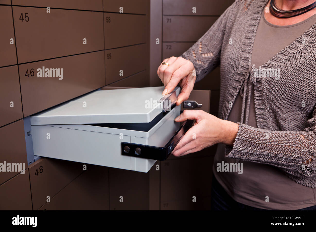 Locker in a bank vault - Stock Image