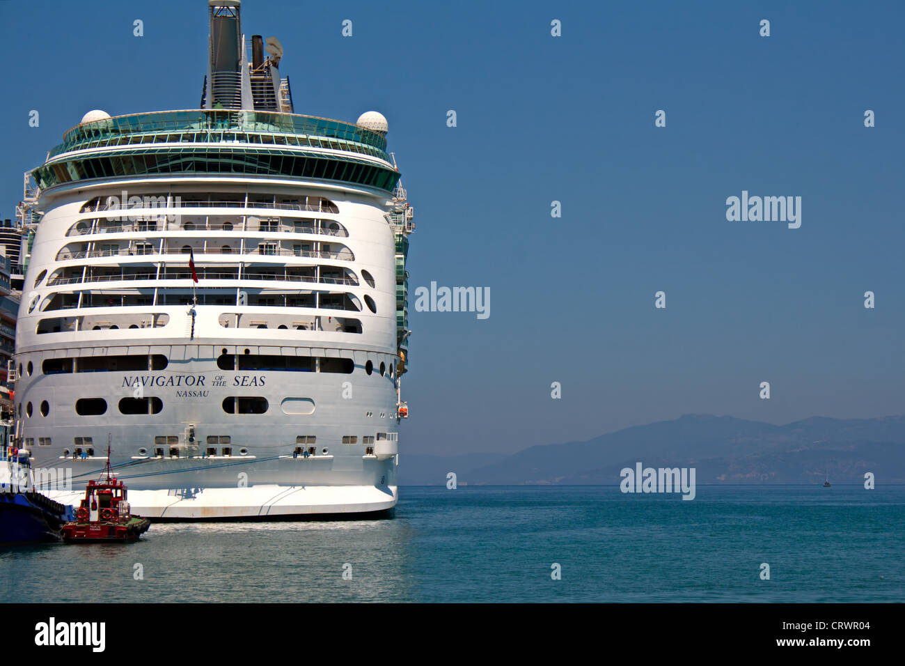 Navigator of The Seas moored in Kusadasi Turkey - Stock Image