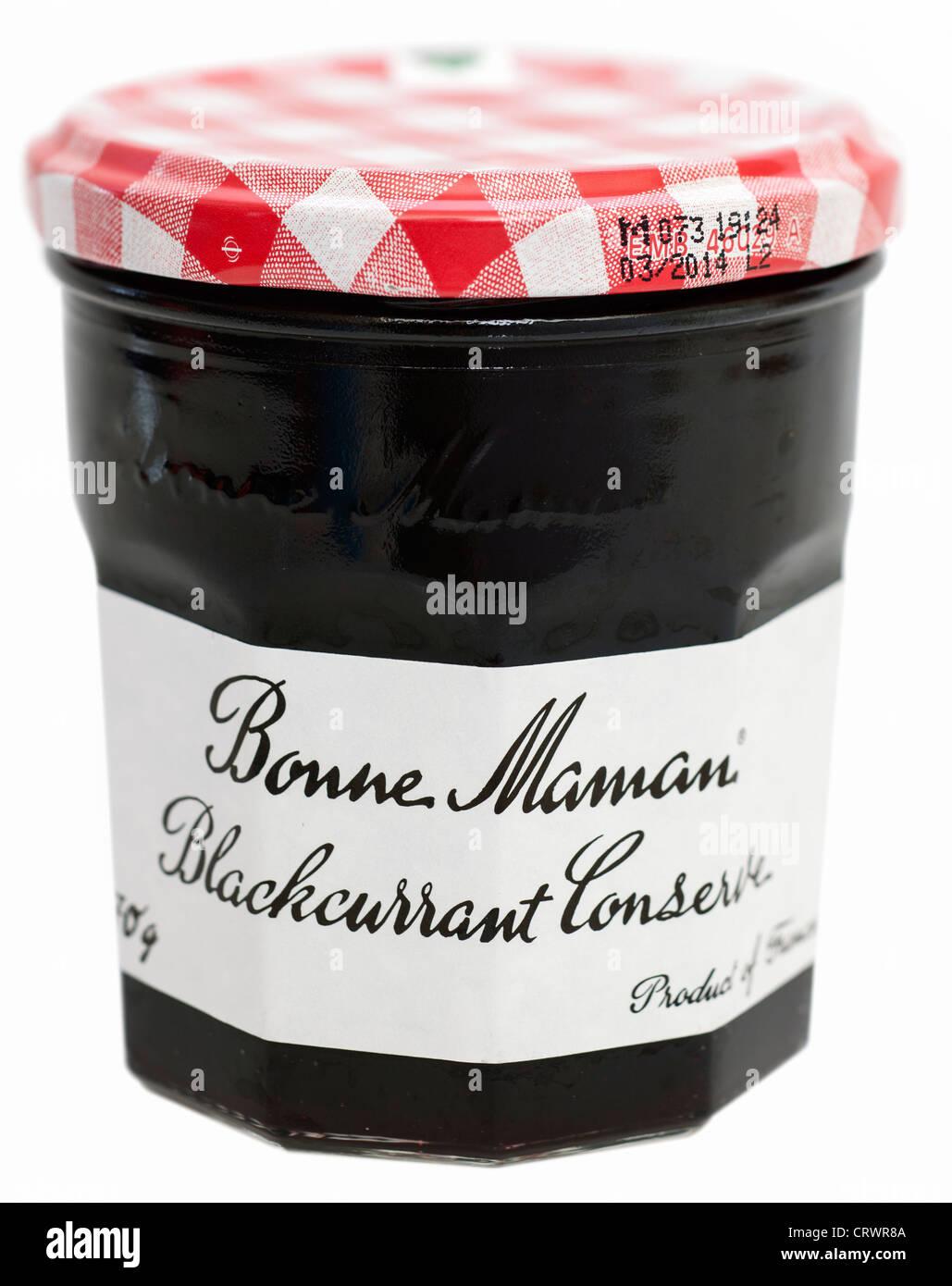 Jar of Bonne Maman blackcurrant conserve - Stock Image