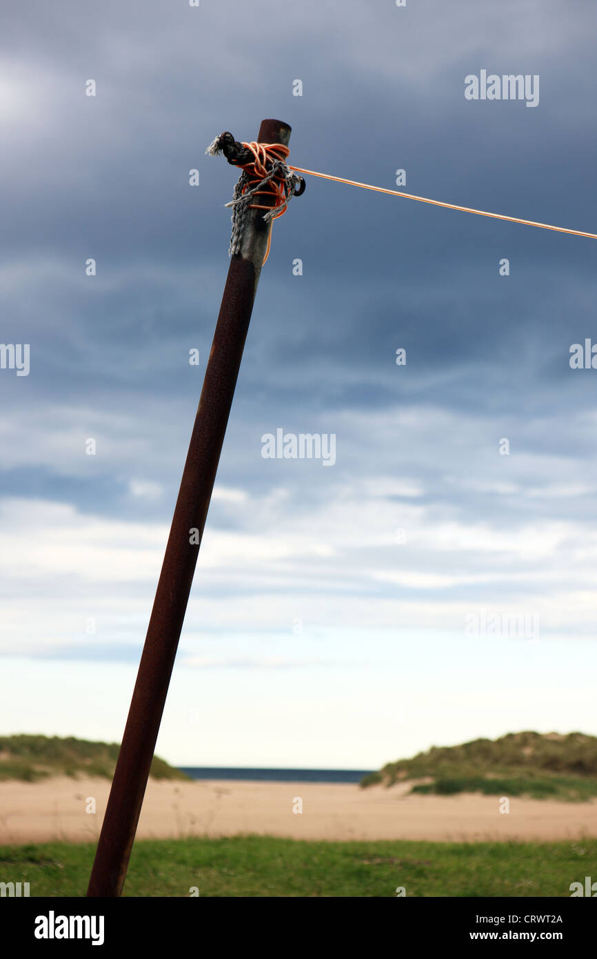 Washing line and pole near the beach in Lossiemouth Morayshire Scotland - Stock Image