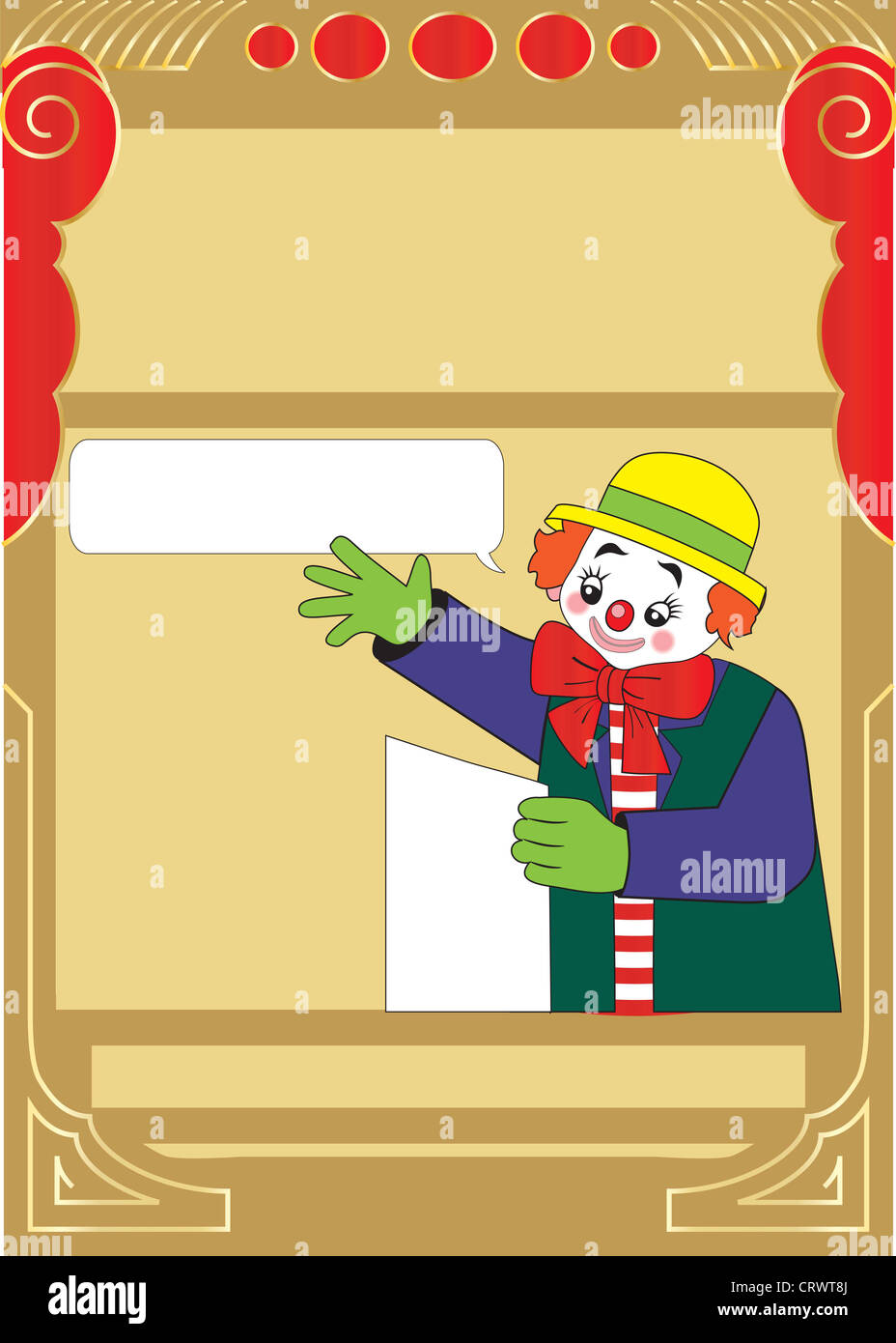 Happy Clown Party Invitation Template For Kids Stock Photo 49125682