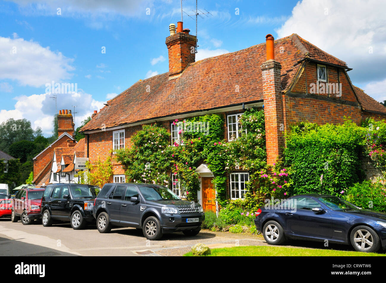 Pretty cottages in the village of Shere in Surrey, England, UK - Stock Image