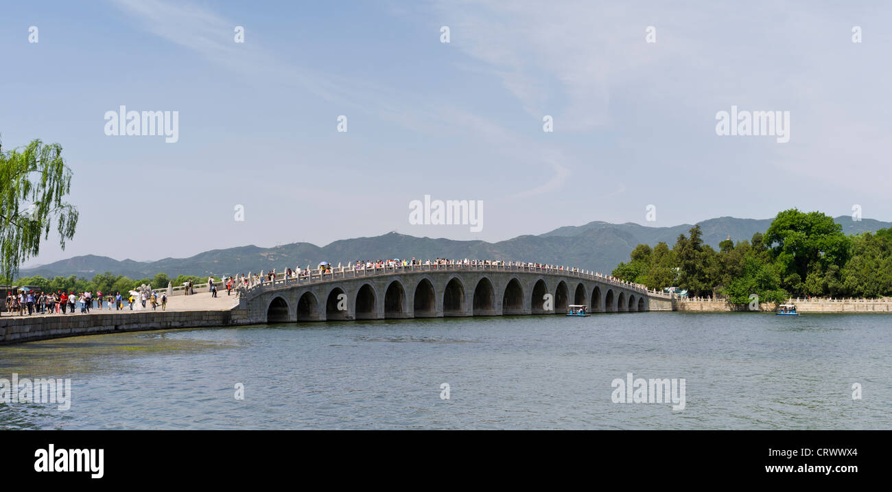 The Seventeen-Arch Bridge. Kunming Lake. The Summer Palace. Beijing. China - Stock Image