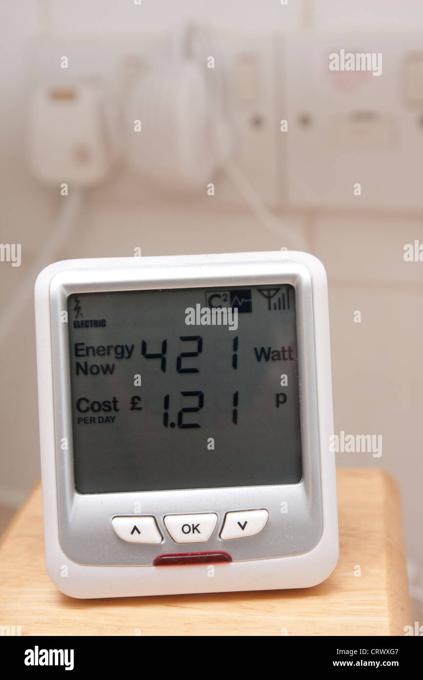 eco meter and electrical sockets Stock Photo