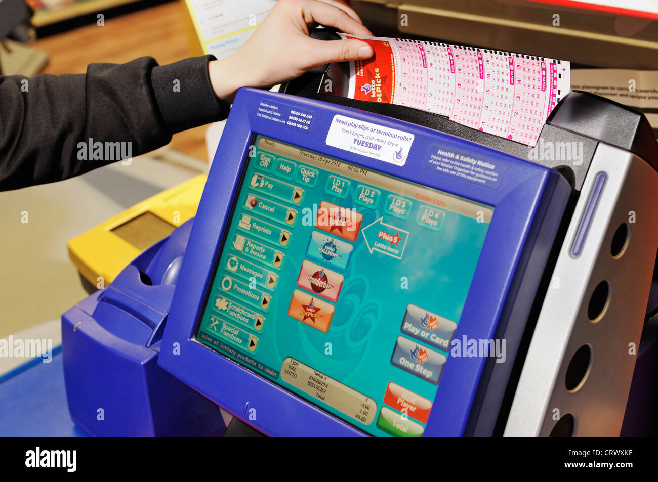 National Lottery Terminal in a Shop. UK. - Stock Image