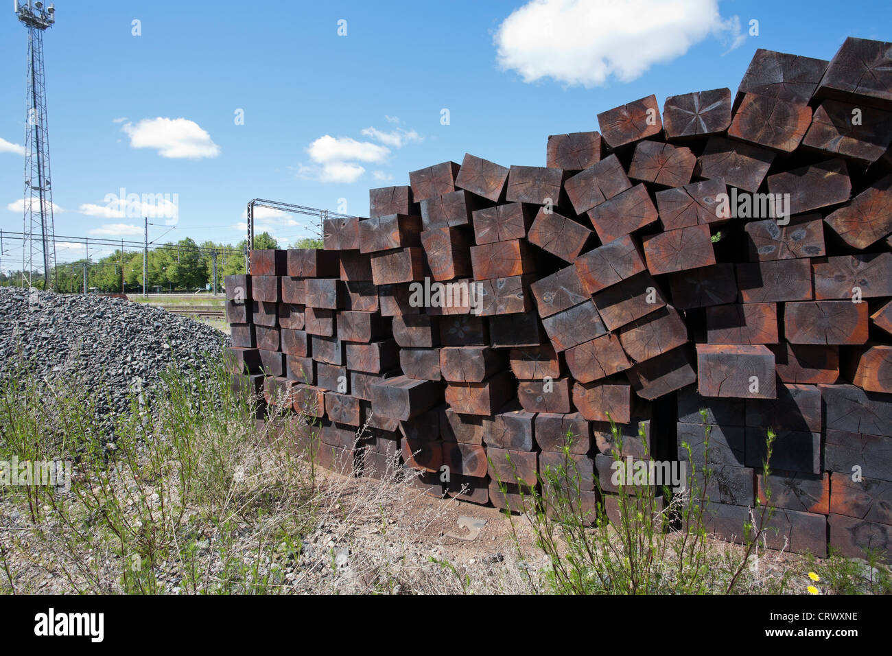 Creosote treated wooden railroad sleepers, Finland - Stock Image