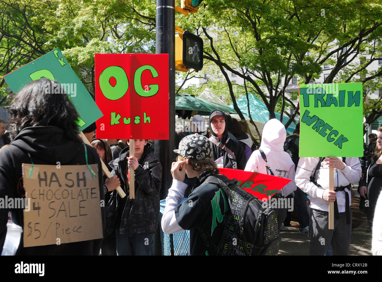 Signs displaying the selling of marijuana at the Vancouver Art Gallery during the annual 4 20 smoke in. - Stock Image