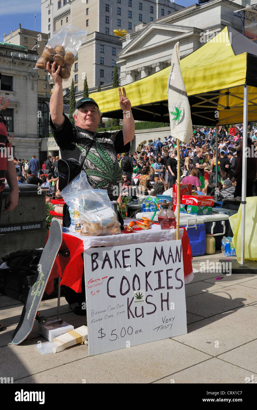 Vendor selling Kush cookies at the Vancouver Art Gallery during the annual 4 20. - Stock Image