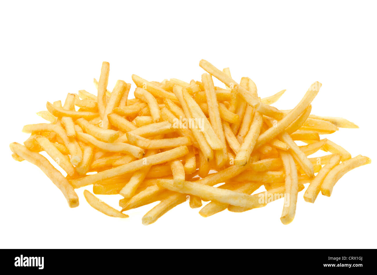 A pile of french fries - studio shot with a white background - Stock Image
