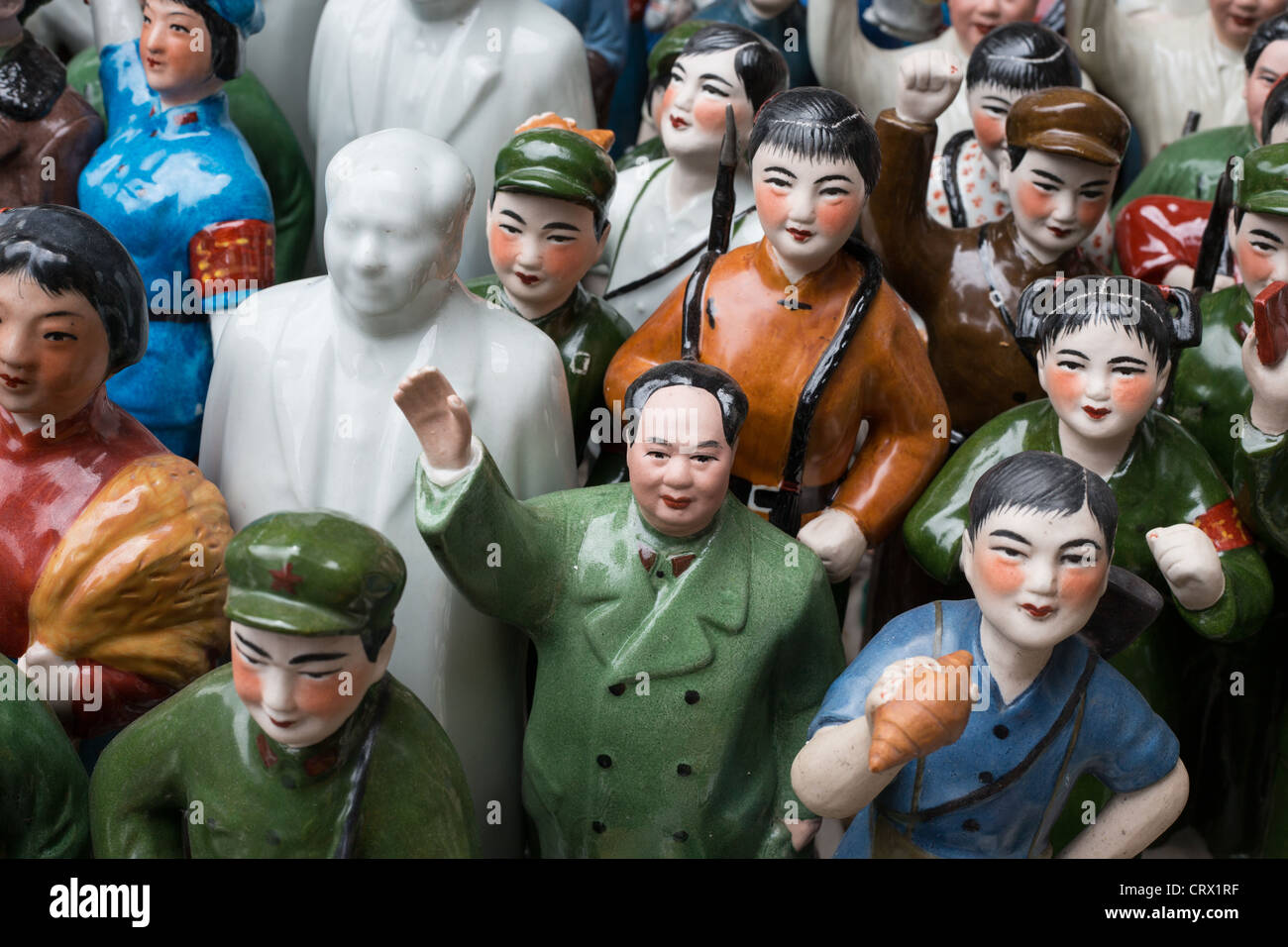 Chairman Mao memorabilia on sale in Dongtai Road Antique Market in Shanghai, China. Stock Photo