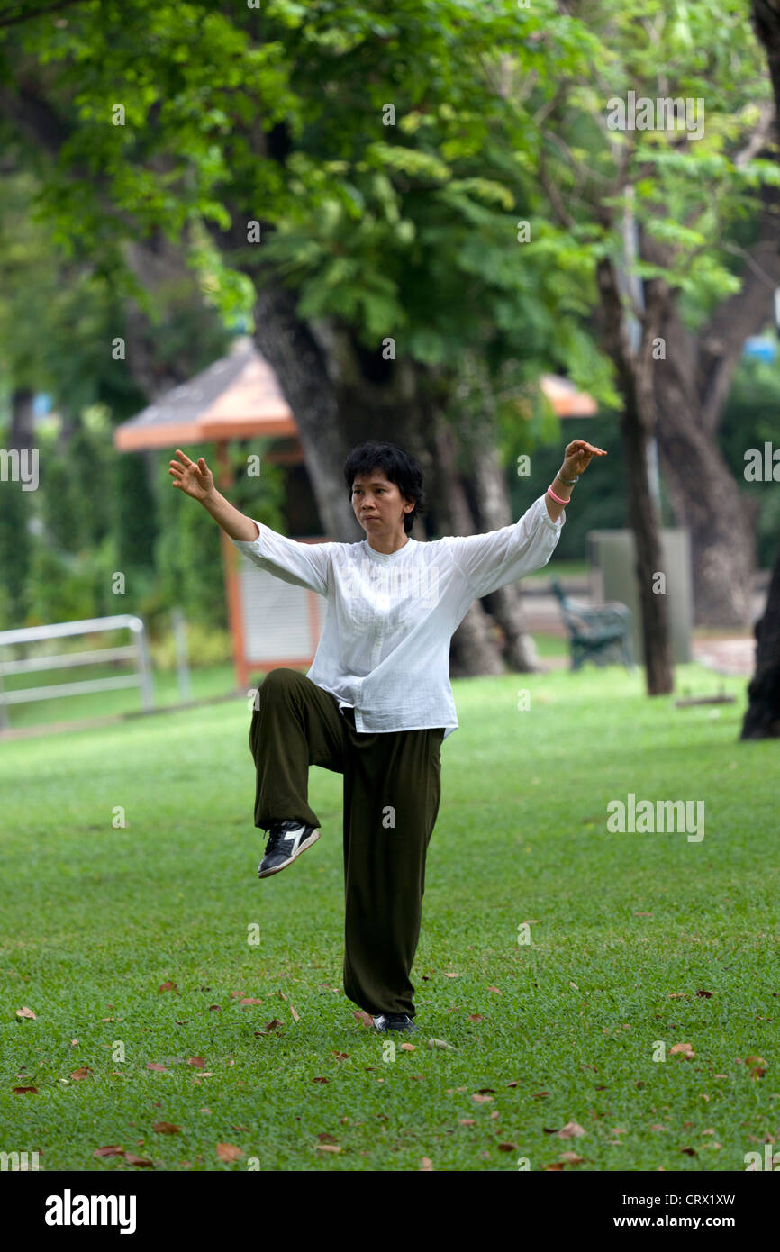 A young Thai woman practising tai-chi-chuan in the early morning (Bangkok) Jeune femme Thaïlandaise pratiquant - Stock Image