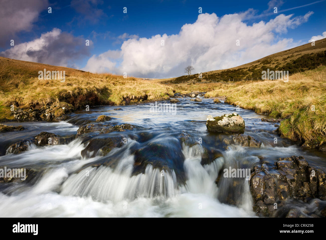 Rocky River Tawe in the moorland of Fforest Fawr, Brecon Beacons National Park, Wales, UK. Winter (January) 2010. - Stock Image