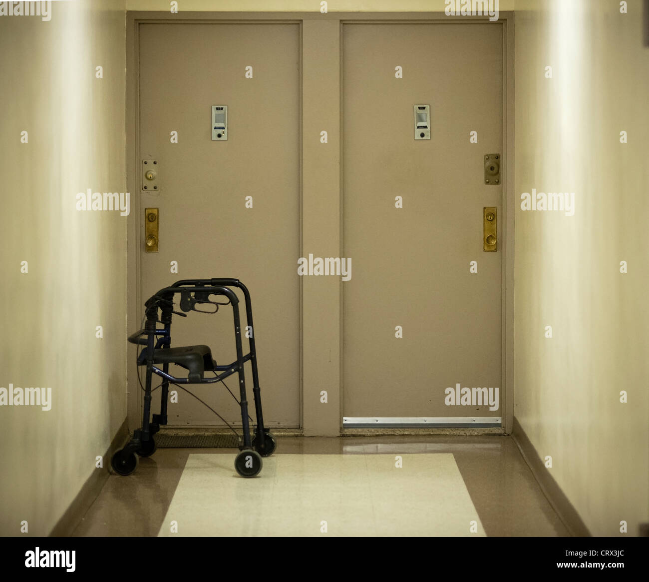 New York Apartments Outside: A Walker In A Hallway Outside An Apartment Door In The New