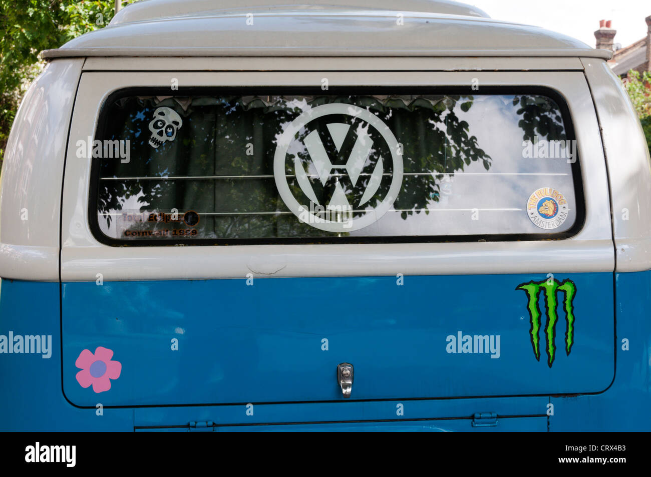 The rear of a 1970 Volkswagen VW Campervan. - Stock Image