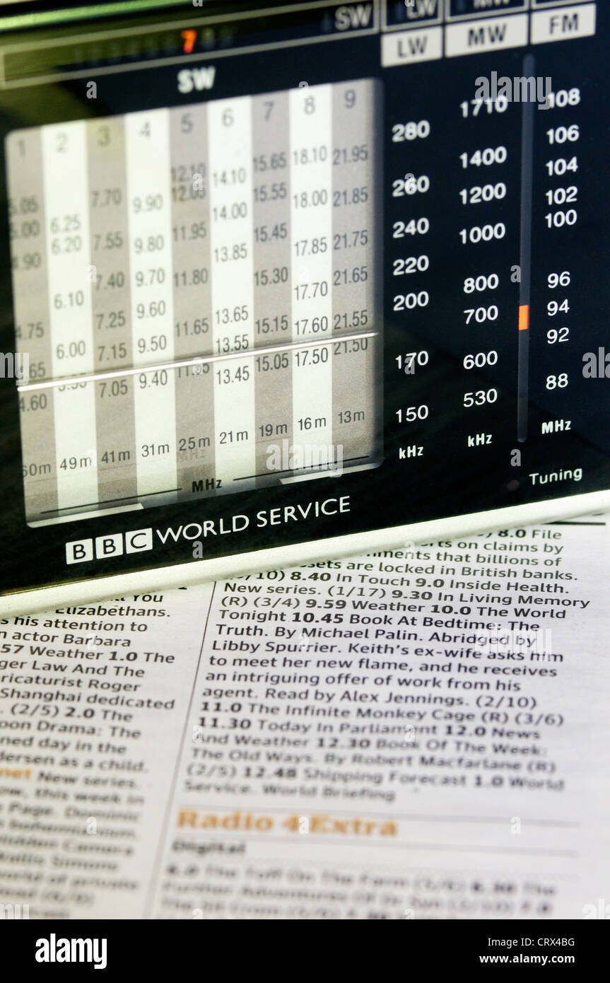 A BBC World Service radio resting on a newspaper showing radio programme schedules. Stock Photo
